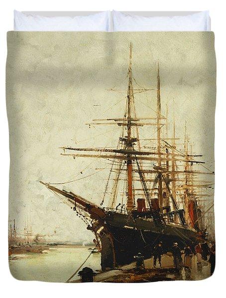 A Harbor Duvet Cover by Eugene Galien-Laloue
