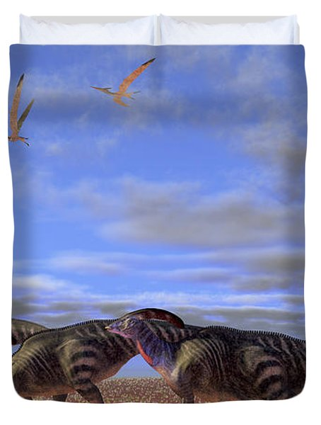 A Herd Of Parasaurolophus Dinosaurs Duvet Cover by Corey Ford
