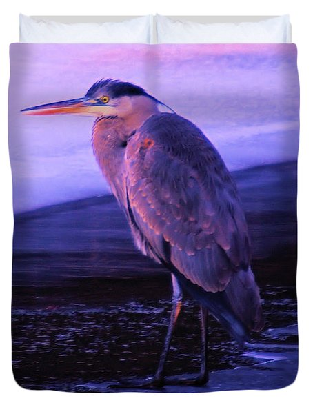 A Heron On The Moyie River Duvet Cover by Jeff Swan