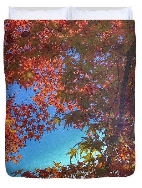 A Little Bit Of Sunshine On A Fall Duvet Cover by Blenda Studio
