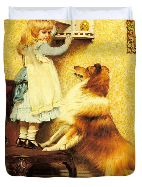 A Little Girl And Her Sheltie Duvet Cover by Charles Burton Barber