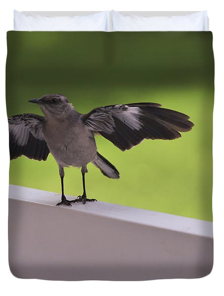 A Little Visitor Northern Mockingbird Duvet Cover by Terry DeLuco