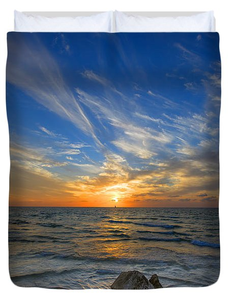 a majestic sunset at the port Duvet Cover by Ron Shoshani