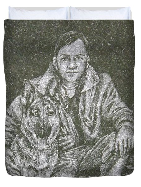 A Man And His Dog Duvet Cover by Dennis Pintoski