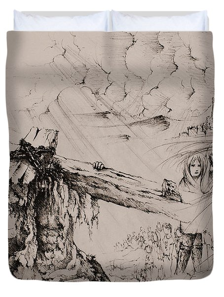 A man of sorrows Duvet Cover by Rachel Christine Nowicki