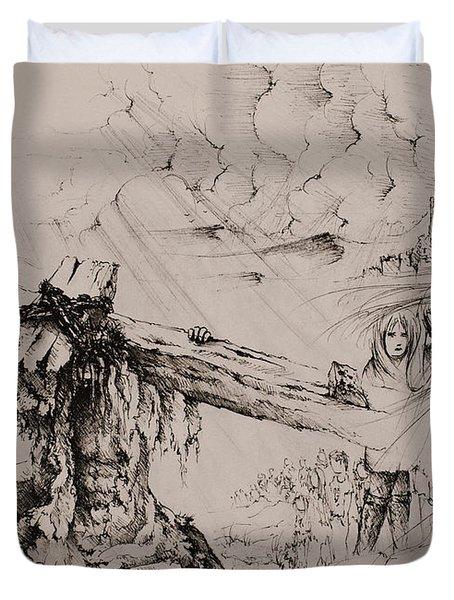 A man of sorrows Duvet Cover by Rachel Christine Nowicki