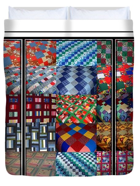 A Menagerie Of Colorful Quilts Triptych Duvet Cover by Barbara Griffin