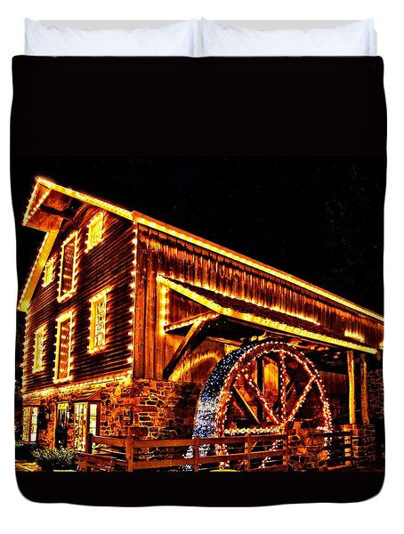 A Mill In Lights Duvet Cover by DJ Florek