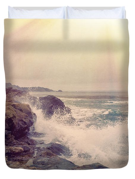 A Mysterious Morning - Point Lobos Duvet Cover by Angela A Stanton