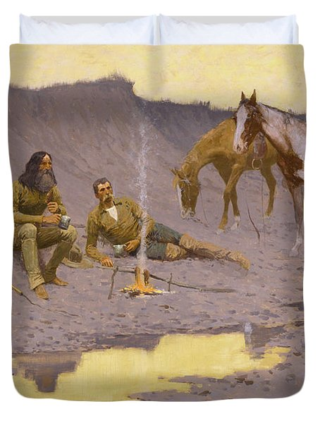 A New Year On The Cimarron Duvet Cover by Fredrick Remington