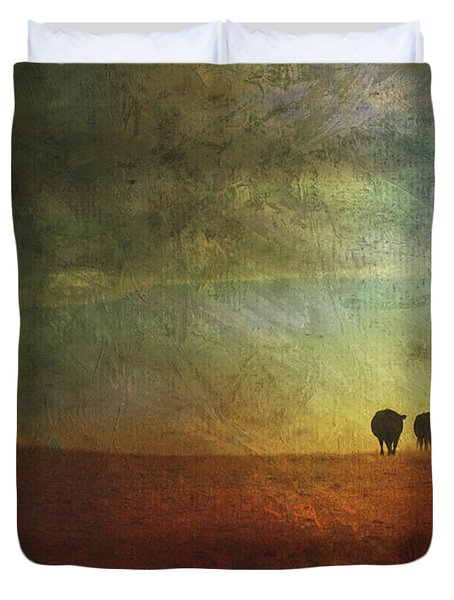 A Painterly Image Of Two Cows Walking Duvet Cover by Roberta Murray