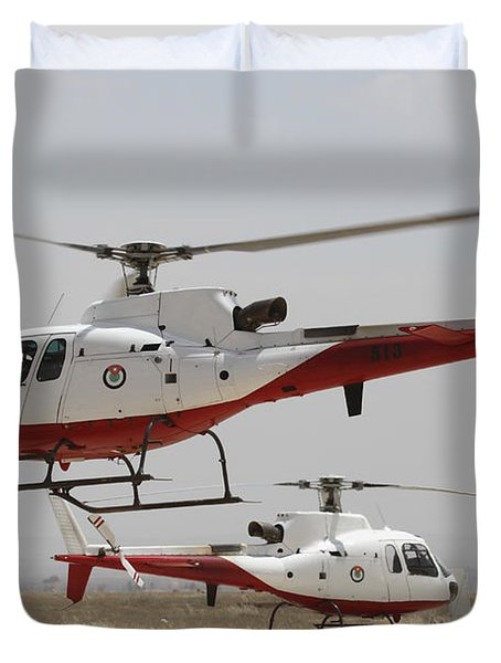 A Pair Of As350 Squirrel Helicopters Duvet Cover by Ofer Zidon