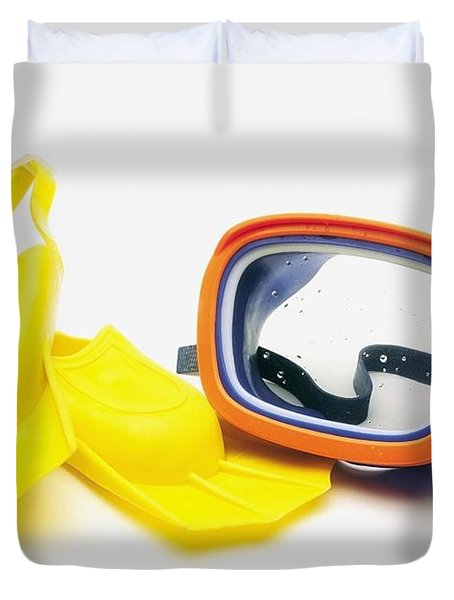 A Pair Of Flippers And Underwater Mask Duvet Cover by Ron Nickel