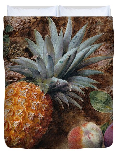 A Pineapple A Peach And Plums On A Mossy Bank Duvet Cover by John Sherrin