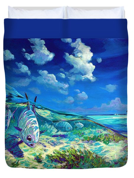 A Place I'd Rather Be - Caribbean Permit Fly Fishing Painting Duvet Cover by Savlen Art