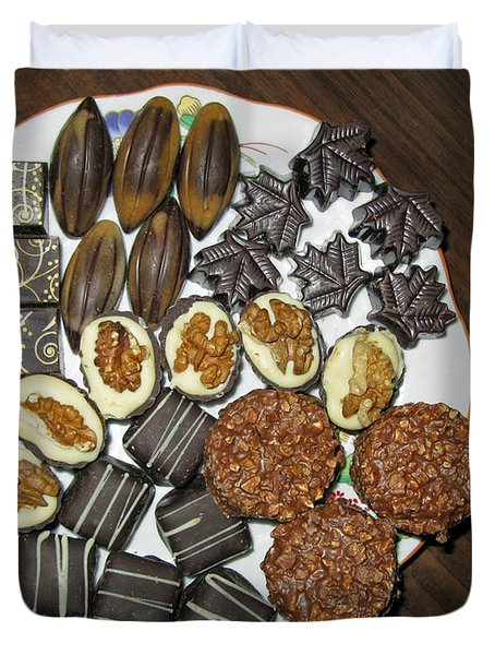 A Plate Of Chocolate Sweets Duvet Cover by Ausra Huntington nee Paulauskaite