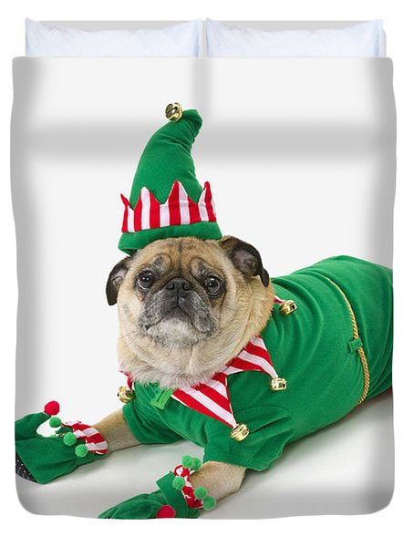 A Pug In A Christmas Elf Costumest Duvet Cover by Corey Hochachka