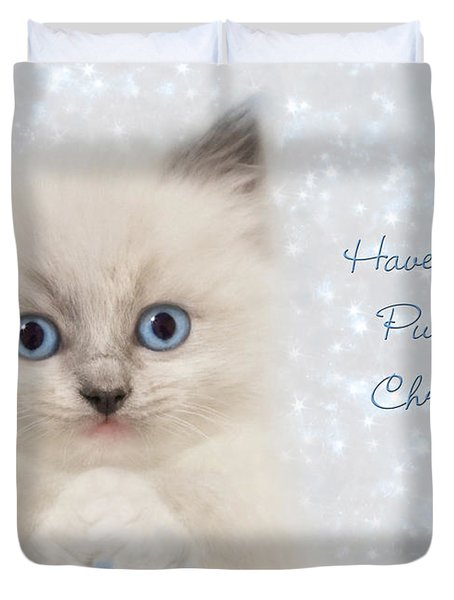 A Purrrfect Christmas Duvet Cover by Lori Deiter