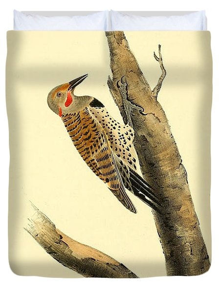A Red Moustached Woodpecker Duvet Cover by Philip Ralley