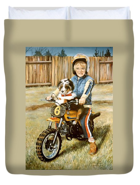 A Ride In The Backyard Duvet Cover by Donna Tucker