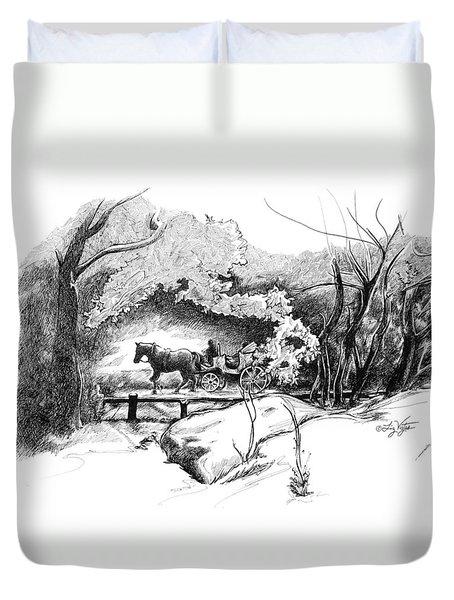 A Ride Through Central Park Duvet Cover by Liz Viztes