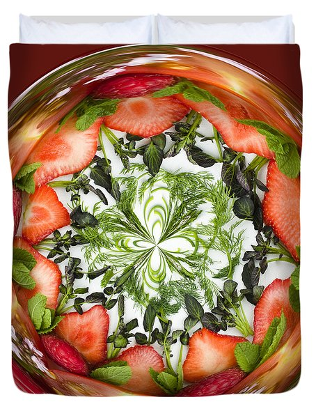 A Round Of Fresh Fruit Salad Duvet Cover by Anne Gilbert
