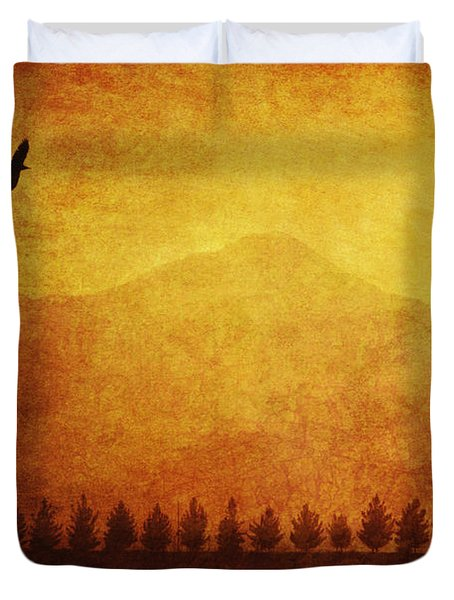 A Row Of Trees And A Raven Silhouetted Duvet Cover by Roberta Murray