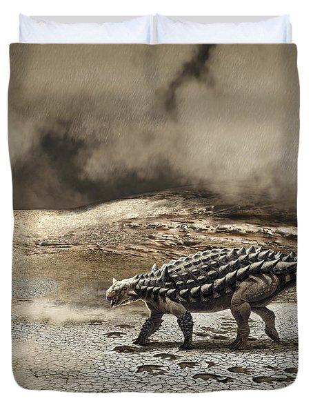 A Saichania Chulsanensis Dinosaur Duvet Cover by Roman Garcia Mora
