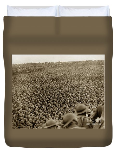 A Sea Of Helmets World War One 1918 Duvet Cover by California Views Mr Pat Hathaway Archives