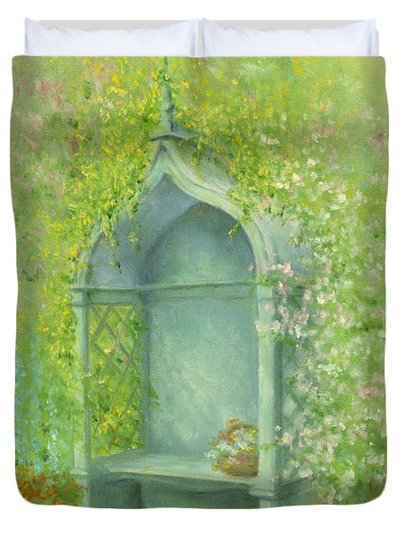 A Seat In The Garden Duvet Cover by Garry Walton