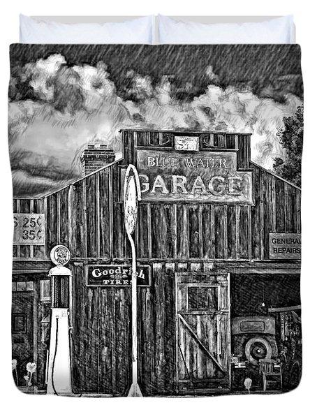 A Simpler Time Pencil Sketch Version Duvet Cover by Steve Harrington