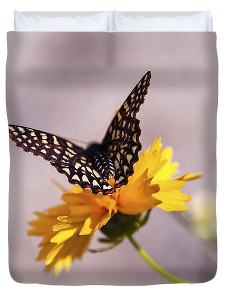 A Sip Of Coreopsis Duvet Cover by Caitlyn  Grasso