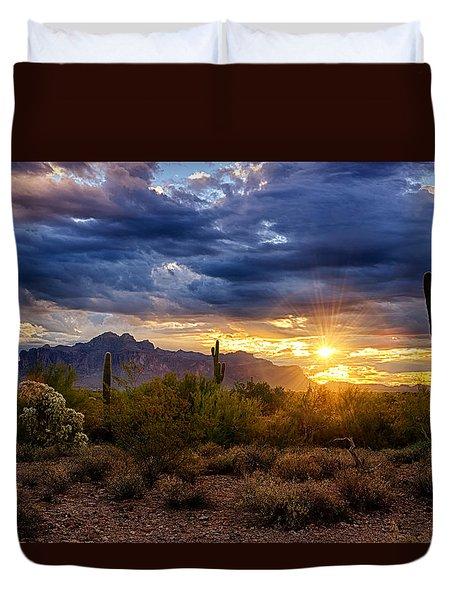 A Sonoran Desert Sunrise Duvet Cover by Saija  Lehtonen