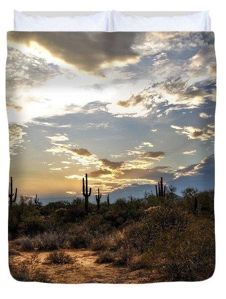 A Sonoran Desert Sunset  Duvet Cover by Saija  Lehtonen