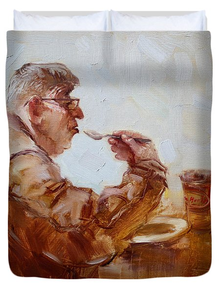 A Soupe Break At Tim Hortons Duvet Cover by Ylli Haruni