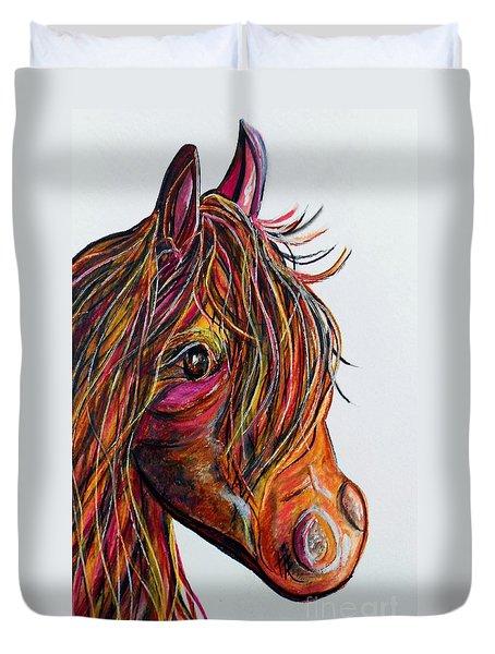 A Stick Horse Named Amber Duvet Cover by Eloise Schneider