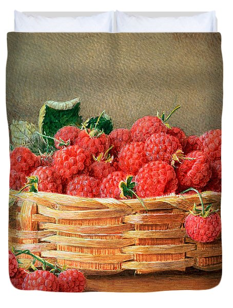 A Still Life Of Raspberries In A Wicker Basket  Duvet Cover by William B Hough