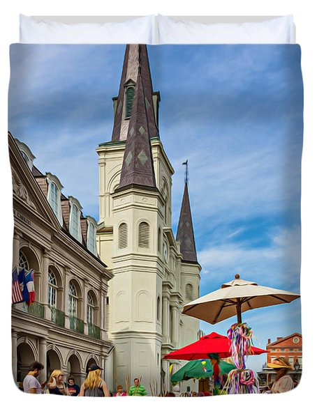 A Sunny Afternoon in Jackson Square oil Duvet Cover by Steve Harrington