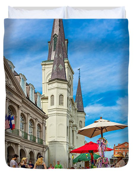 A Sunny Afternoon in Jackson Square Duvet Cover by Steve Harrington