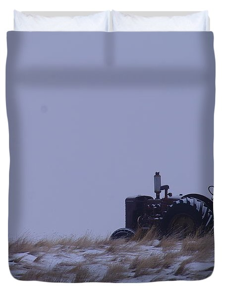 A Tractor Fading To The Snow  Duvet Cover by Jeff Swan