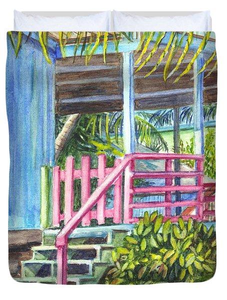 A Tropical Beach House Duvet Cover by Carol Wisniewski
