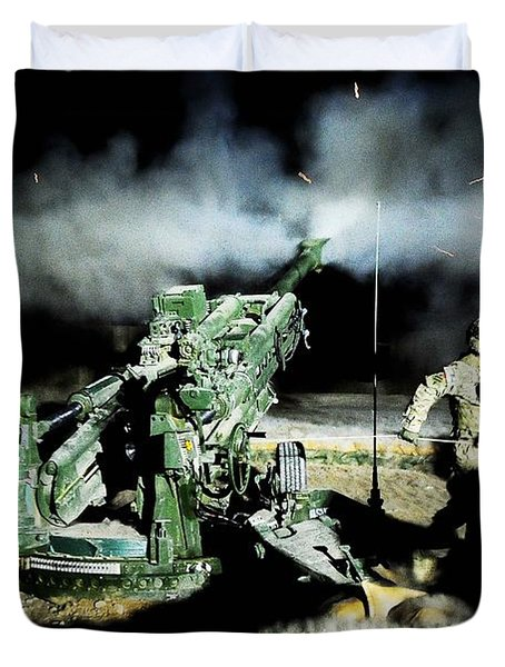 A United States Gun Crew Fire Illumination Rounds At Forward Operating Base Hadrian Duvet Cover by Paul Fearn