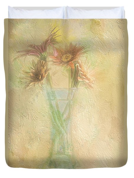 A Vase Of Gerbera Daisies In the Sun Duvet Cover by Diane Schuster