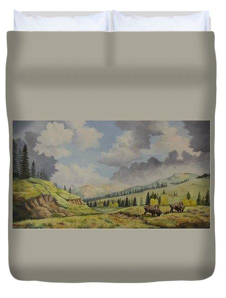A Warm Day At Yellowstone Nat. Park Duvet Cover by Wanda Dansereau