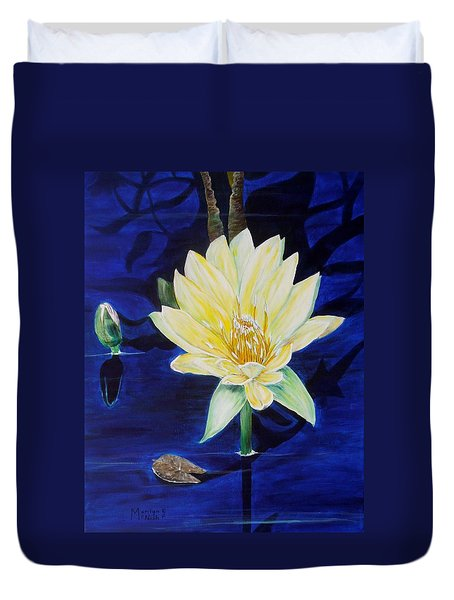 A Waterlily Duvet Cover by Marilyn  McNish
