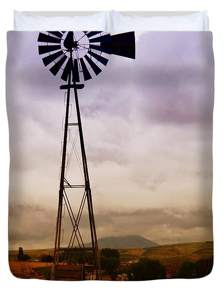 A Windmill And Wagon  Duvet Cover by Jeff Swan
