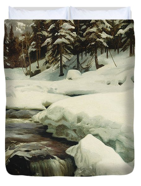 A Winter Landscape With A Mountain Torrent Duvet Cover by Peder Monsted