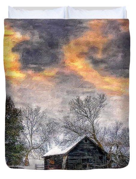 A Winter Sky Paint Version Duvet Cover by Steve Harrington