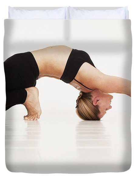 A Woman In A Yoga Pose Tarifa, Cadiz Duvet Cover by Marcos Welsh