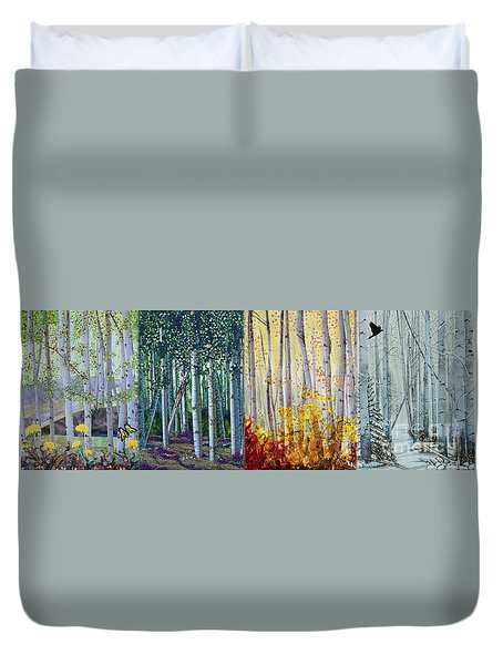 A Year In An Aspen Forest Duvet Cover by Stanza Widen